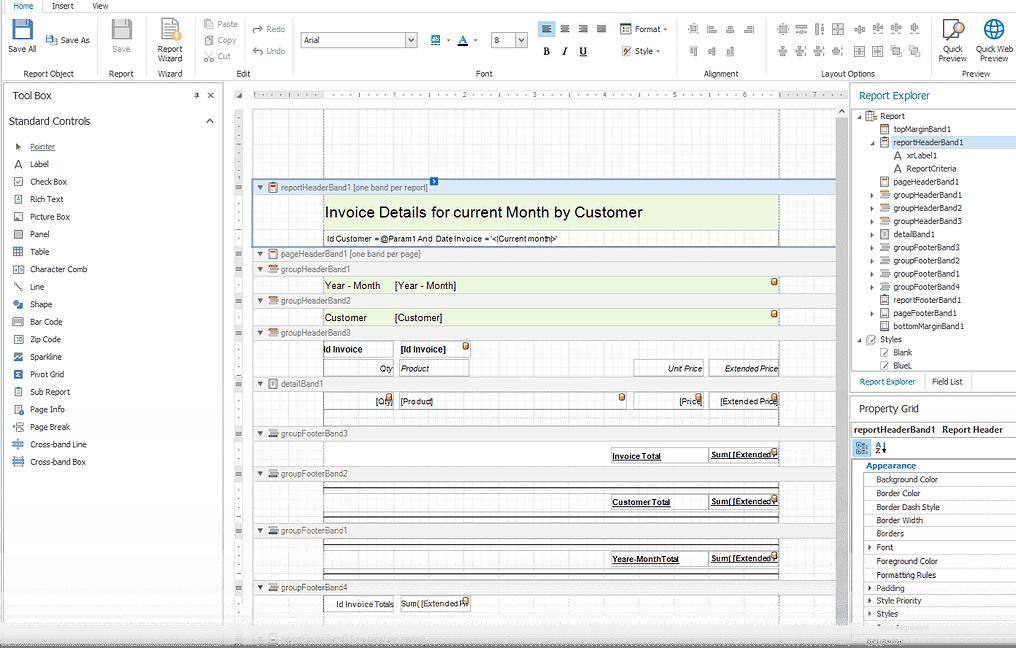 Report Designer Interface